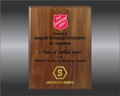Salvation Army Plaque - walnut