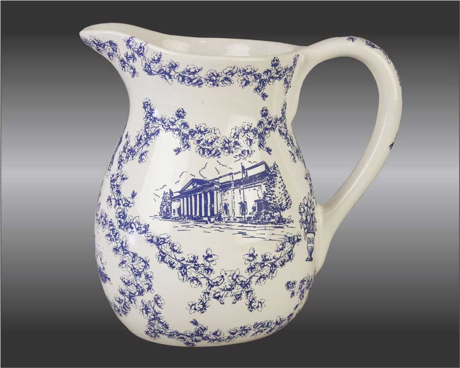 Blue toile pitcher